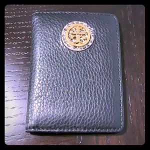 Tory Burch small card holder. Black leather